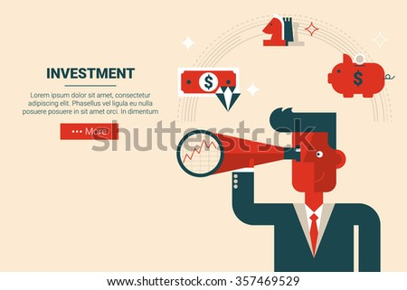Businessman with floating elements in wise investment strategy concept, flat design for landing page website or print material - stock vector