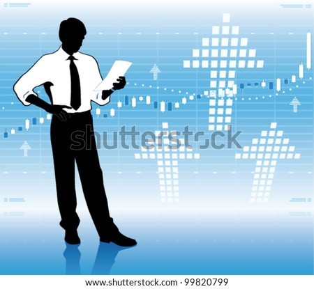 Businessman with growing stock market chart.