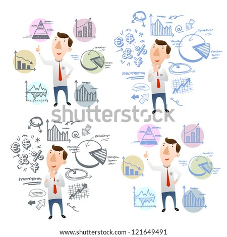 businessman with hand doodle charts - stock vector