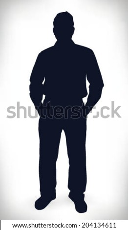 Businessman with hand in pocket silhouette - stock vector