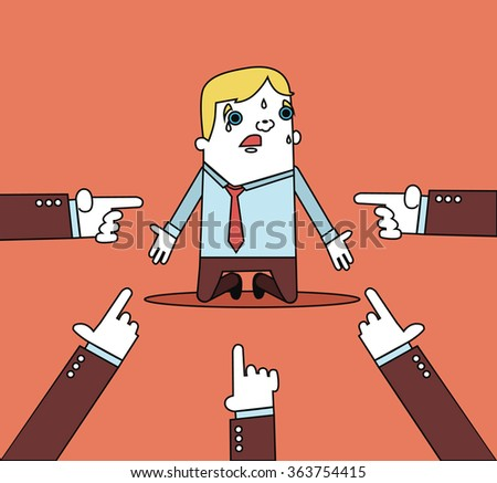 Businessman with hands pointing at him. Vector flat line illustration - stock vector