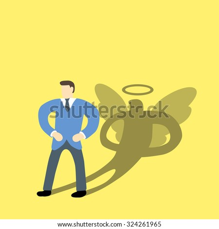 Businessman with his shadow of true or inner of his personality  - stock vector
