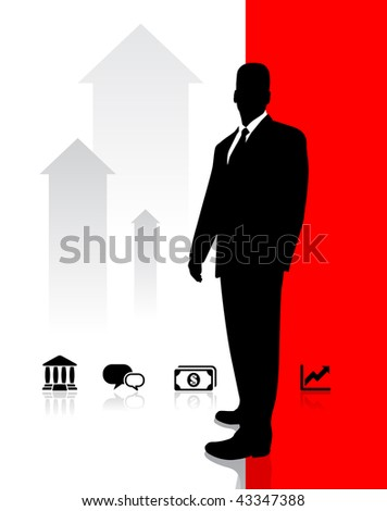 Businessman with Icons Original Vector Illustration - stock vector
