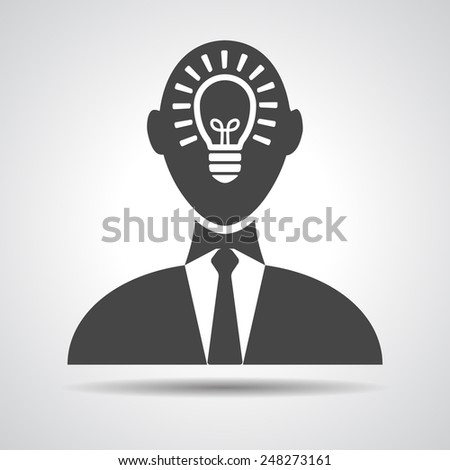 Businessman with idea in head icon - vector illustration - stock vector