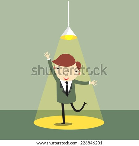 Businessman with ideas. Happy funny cartoon character. Businessman with light over his head,vector,illustrator. - stock vector