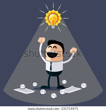 Businessman with ideas. Happy funny cartoon character. Businessman with lightbulb over his head and crumpled sheets of paper under feet flat design style - stock vector