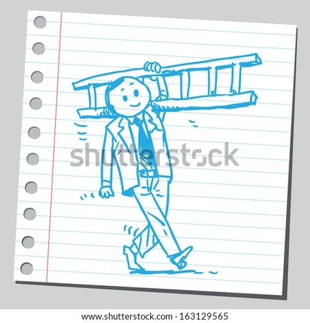Businessman with ladder