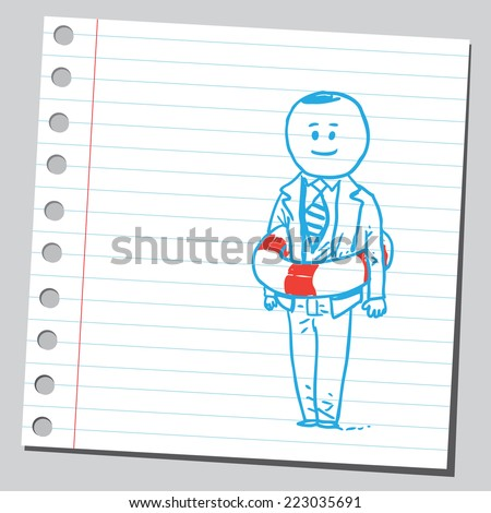 Businessman with lifebuoy - stock vector