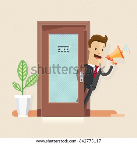 Businessman loudspeaker hand office boss manager stock vector businessman with loudspeaker in hand at the office boss or manager invite staff to a stopboris Gallery