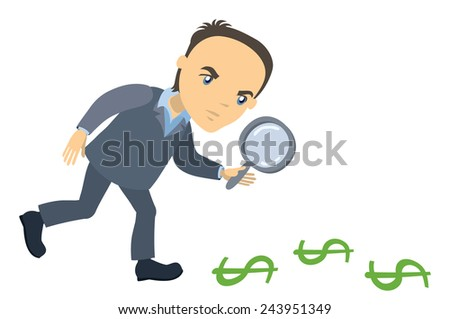businessman with magnifying glass looking for money - cartoon character series of drawings - stock vector