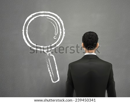 businessman with magnifying glass sketch over grey background - stock vector