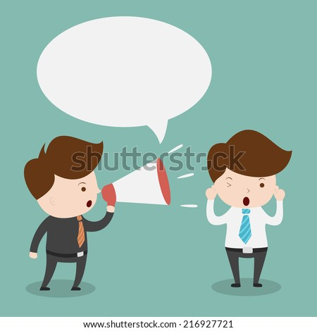 Businessman with megaphone and bubble speech. - stock vector