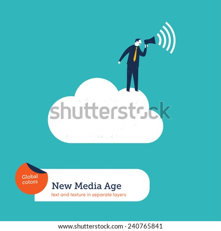Businessman with megaphone on a cloud. Vector illustration Eps10 file. Global colors. Text and Texture in separate layers. - stock vector
