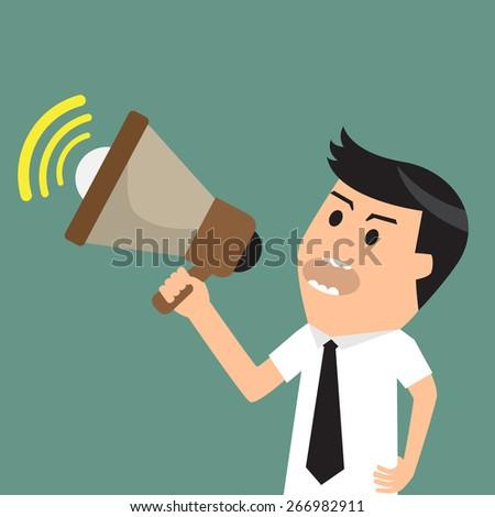 Businessman with megaphone, promotion marketing concept, vector illustration. - stock vector