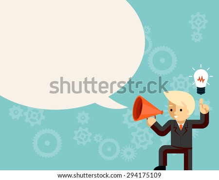 Businessman with megaphone speaking idea speech bubble. Light bulb and information, leader with bullhorn or loudspeaker, vector illustration - stock vector
