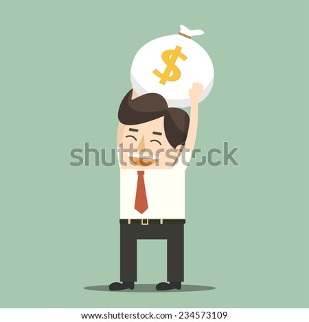 Businessman with money - stock vector
