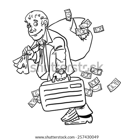 Businessman with money bag isolated on white background. Money. Vector illustration. - stock vector