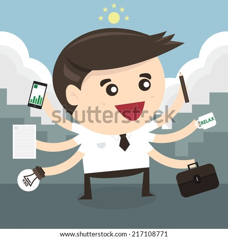 Businessman with multi tasking and multi skill, flat design - stock vector