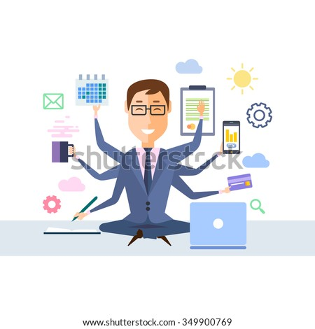 Businessman with multitasking and multi skill. Keep calm. Business concept. Flat design - stock vector