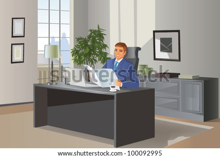 Businessman with newspaper. - stock vector