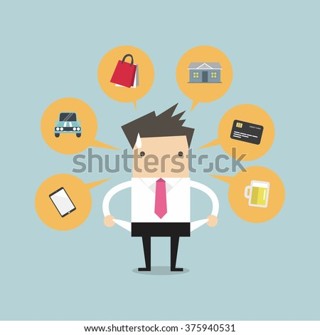 Businessman with no money for spending, vector illustration. - stock vector