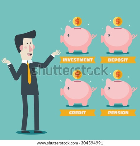 Businessman with Piggy bank. Saving and investing money concept. Financial consultation for the bank worker. Modern vector design flat style. - stock vector