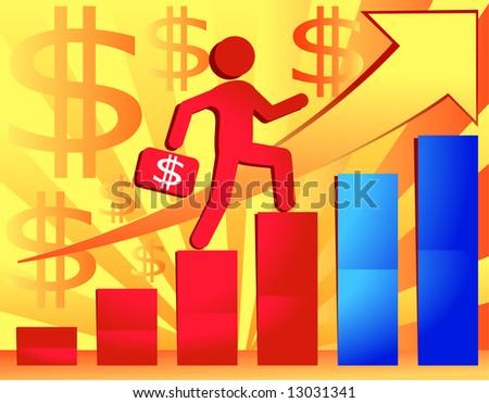 Businessman with portfolio goes on ladder, vector illustration for presentation - stock vector