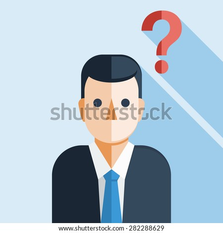Businessman with Question Mark - stock vector