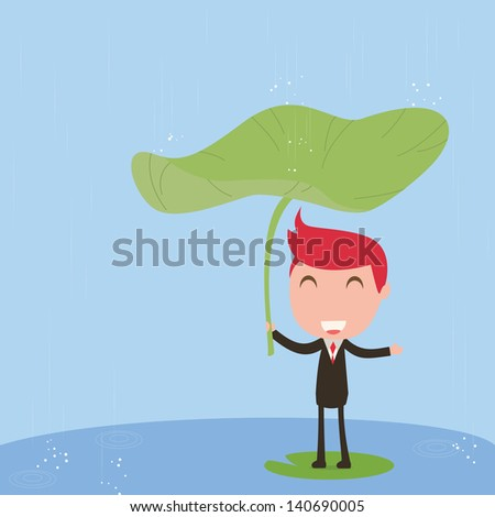 Businessman with rain - stock vector