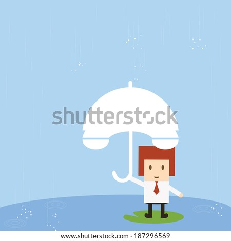 Businessman with rain, vector eps10 - stock vector