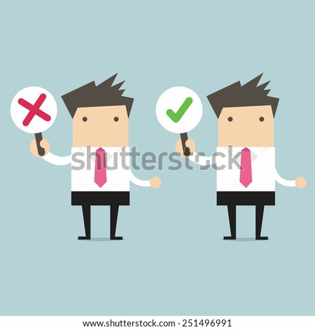 Businessman with right and wrong signs - stock vector