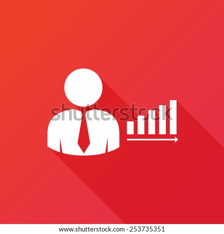 Businessman with rising chart bar icon - stock vector