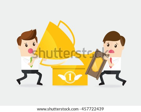 businessman with rival fighting for a golden trophy - stock vector