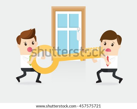 businessman with rival fighting for a key of success - stock vector