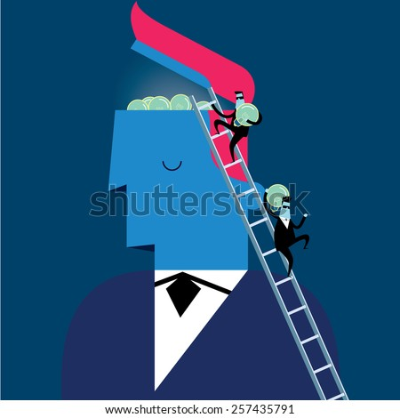 Businessman with robbers  steal  ideas - stock vector