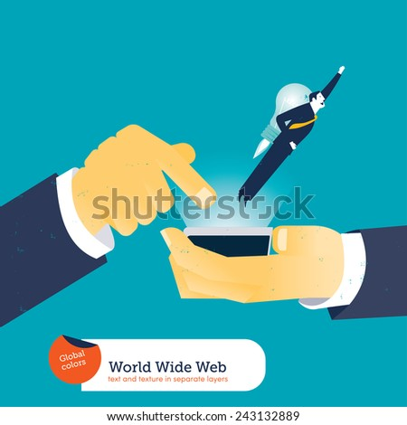 Businessman with rocket coming out of a smart phone. Vector illustration Eps10 file. Global colors. Text and Texture in separate layers. - stock vector
