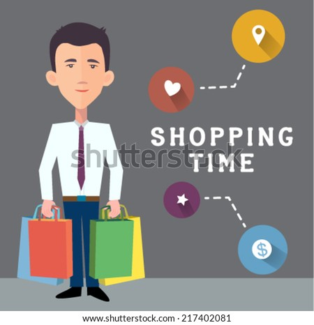 businessman with shopping bags - flat design vector  - stock vector