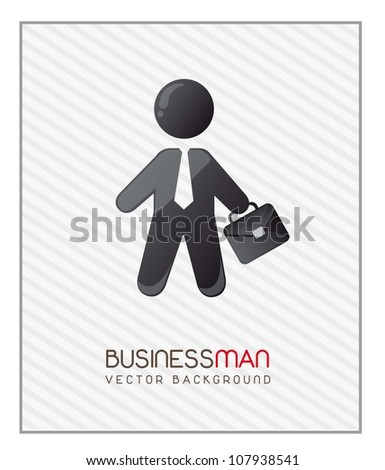 businessman with suit case over stripes background. vector - stock vector