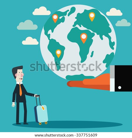 Businessman with suitcase and world map. Global travel and journey modern illustration. International business travel and adventure vector concept  - stock vector