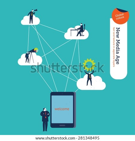 Businessman with tablet connected to different users and clouds. Vector illustration Eps10 file. Global colors. Text and Texture in separate layers. - stock vector