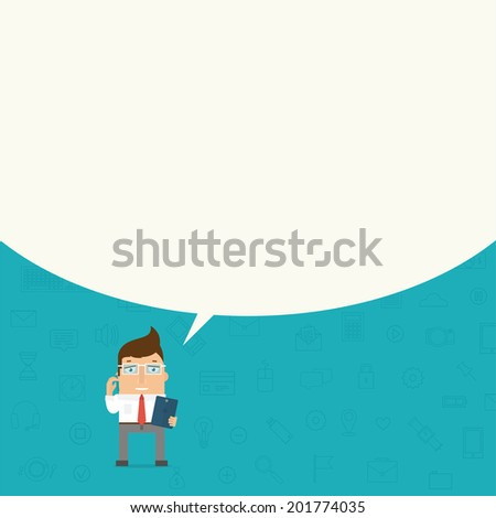 Businessman with Tablet PC and Mobile Phone. Speech Bubble for Text. Set of Thin Line Icons and Elements. - stock vector