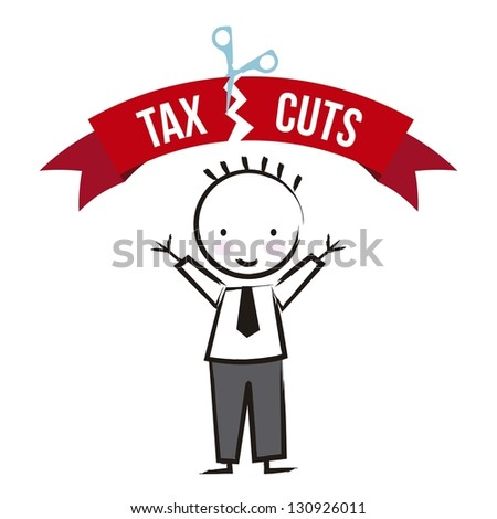 businessman with tax icon over white background. vector
