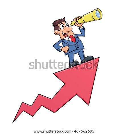 Businessman with telescope on arrow