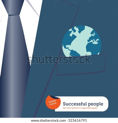 Businessman with the world in his pocket. Vector illustration Eps10 file. Global colors. Text and Texture in separate layers. - stock vector