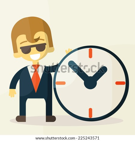 Businessman  with time, business concept in busy and hard working. vector illustration - stock vector