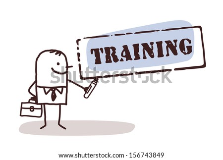 businessman with training sign - stock vector