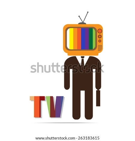 businessman  with TV head ,  vector EPS 10. - stock vector