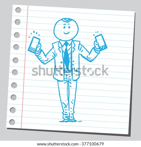 Businessman with two cell phones - stock vector