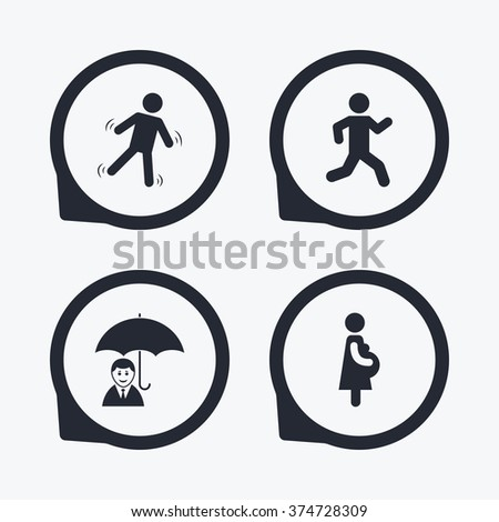 Businessman with umbrella icon. Human running symbol. Man love Woman or Lovers sign. Women Pregnancy. Life insurance. Flat icon pointers. - stock vector