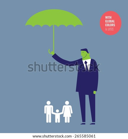 Businessman with umbrella protecting a family. Vector illustration Eps10 file. Global colors&layers.